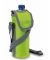 Lime groene koeltas voor fles met schouderband