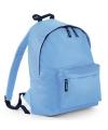 Licht blauwe schooltas met voorvak