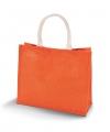 Jute oranje tas met katoenen hengsels