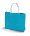 Jute turquoise tas met katoenen hengsels