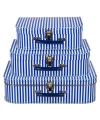 Kinderkoffertje blauw gestreept 30 cm