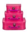 Kinderkoffertje fuchsia roze 16 cm