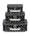 Kinderkoffertje zwart met witte polkadots 16 cm